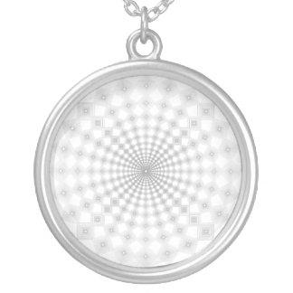 square arabesque round pendant necklace