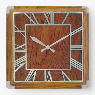 Square Art Deco Style Wall Clock