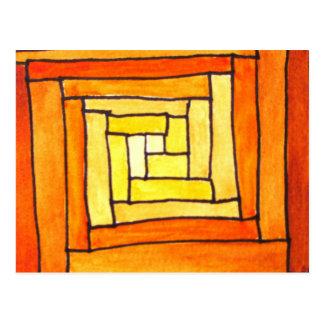 square Art Deco yellow retro pattern Postcard