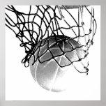 Square B&W Basketball Ball & Net Print Poster