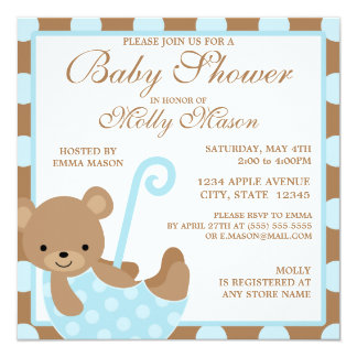 Square Baby Bear Baby Shower Invitation