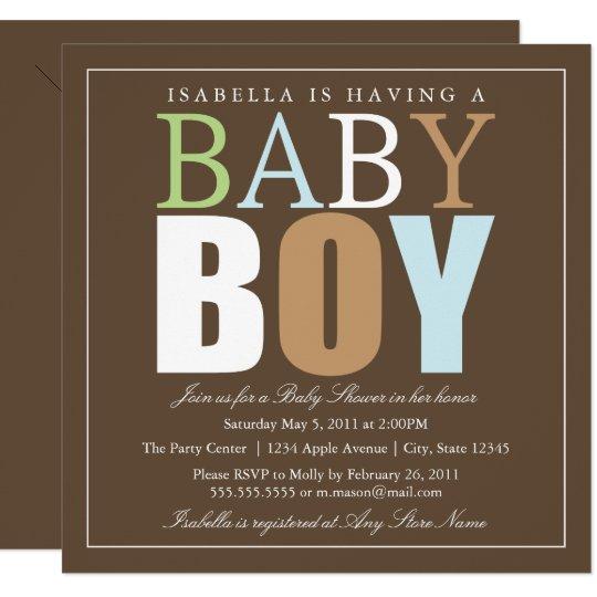 Square Baby Boy   Baby Shower Invite
