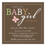 Square BABY GIRL Baby Shower Invitation