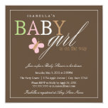 "Square Baby Girl   Baby Shower Invite 5.25"" Square Invitation Card"