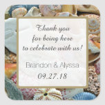 Square Beach Wedding Thank You Favour Labels Square Sticker