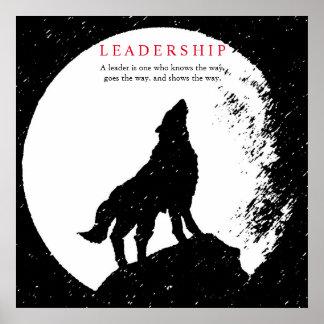 Square Black White Inspirational Leadership Wolf Poster