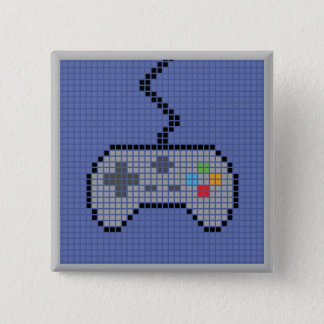 Square Blocky Gamepad Button with blue Background
