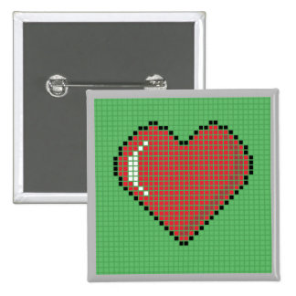 Square Blocky Heart Button with green Background