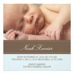 Square Blue & Brown Birth Announcement