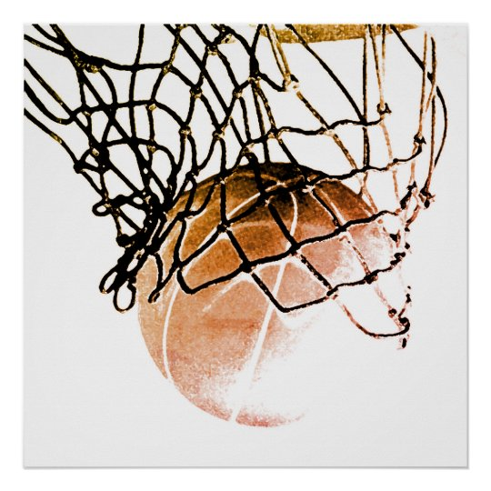 Square Brown Basketball Ball & Net Print Poster