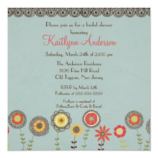 Square Brown Floral Bridal Shower Invitation