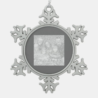 Square Charcoal Border Photo Snowflake Pewter Christmas Ornament