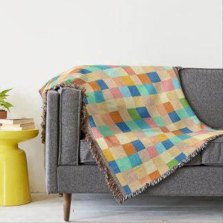 Square Checkerboard Multicolor Bright Rainbow Throw Blanket