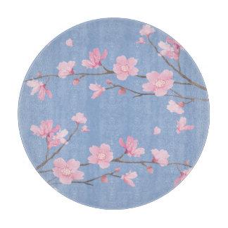 Square- Cherry Blossom - Serenity Blue Cutting Board