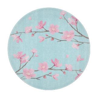 Square- Cherry Blossom - Sky Blue Cutting Board