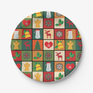 Square Christmas design Paper Plates