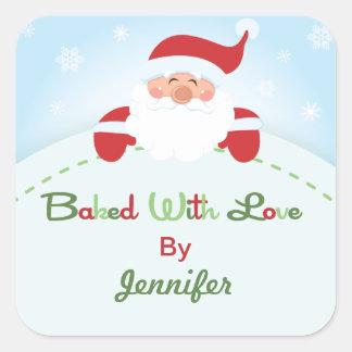 Square Christmas Santa  Baking label Stickers