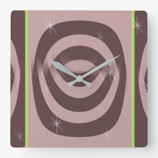 Square Clock RETRO MAUVE PATTERN