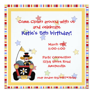 Square Clown Car Invitation