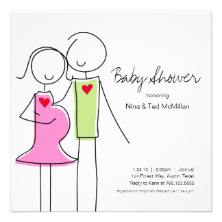 Square Coed Baby Shower Invitations 5x5