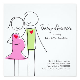 "Square Coed Baby Shower Invitations, 5x5 5.25"" Square Invitation Card"