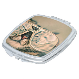 Square Compact Mirror: Funny Cat with Glasses. Travel Mirror