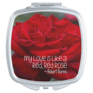 Square Compact Mirror My Love Red Rose