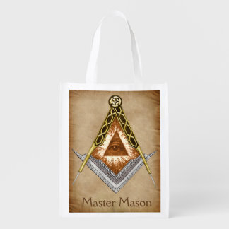 Square & Compass with All Seeing Eye Reusable Grocery Bag