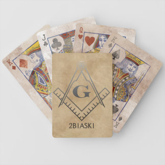 Square & Compass with Inset G - Ombre Bicycle Playing Cards