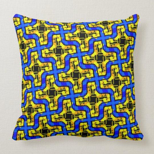 Square cushion Jimette blue and yellow Design