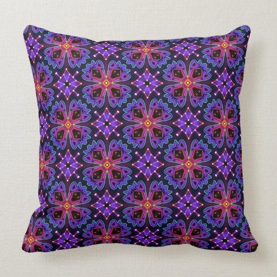 Square cushion Jimette Design blue fuchsia purple