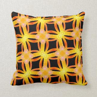 Square cushion Jimette orange and black yellow