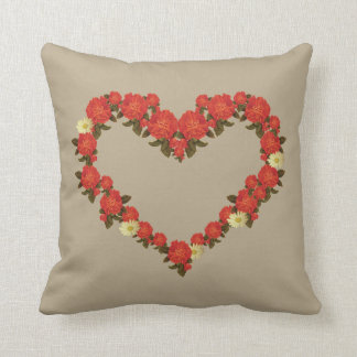 Square cushion with roses and daisy heart