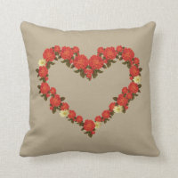 Roses and daisy heart pillow