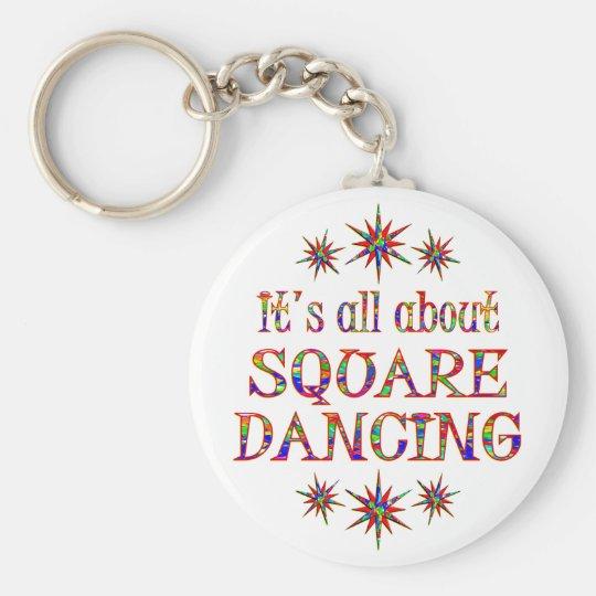 SQUARE DANCING BASIC ROUND BUTTON KEY RING