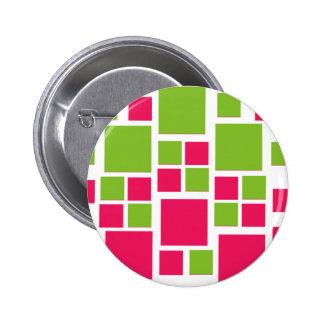 Square Design Art Lime Green / Hot Pink 6 Cm Round Badge