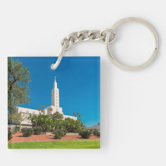 Square (double-sided) Keychain LDS LA Temple