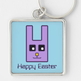 Square Easter Bunny Keychain
