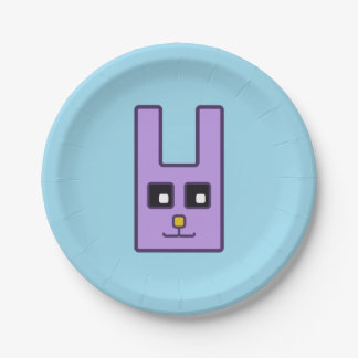 Square Easter Bunny Paper Plate