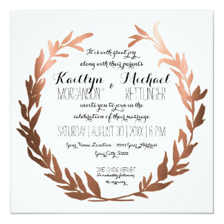 Square Faux Copper Laurel Wreath Olive Leaf Branch Card