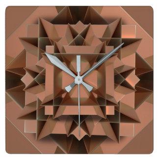 Square Faux Copper Wall Clock