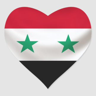 Square flag of Syria, ceremonial draped Heart Stickers