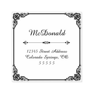Square Flourish - Self-Inking Address Stamp