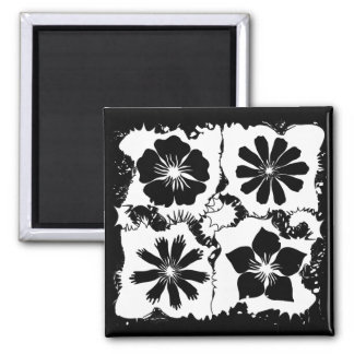square flowers square magnet