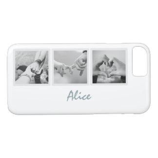 Square Frame Custom Photos and Name on Plain White iPhone 8/7 Case
