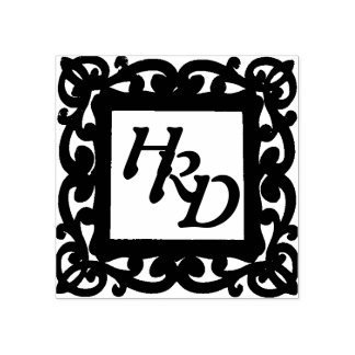 Square Frame Monogram Rubber Stamp
