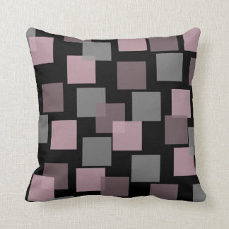 Square Geometric Modern Pink and Gray Throw Pillow