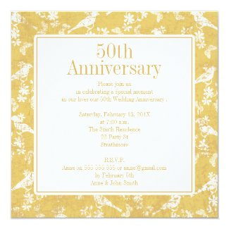 Square Golden 5oth Wedding Anniversary Invitation