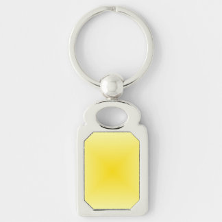 Square Gradient - Light Yellow and Dark Yellow Silver-Colored Rectangle Key Ring