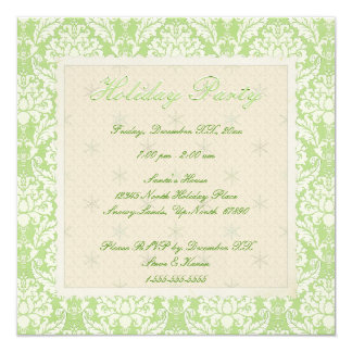 Square Green Damask Holiday Party Invite